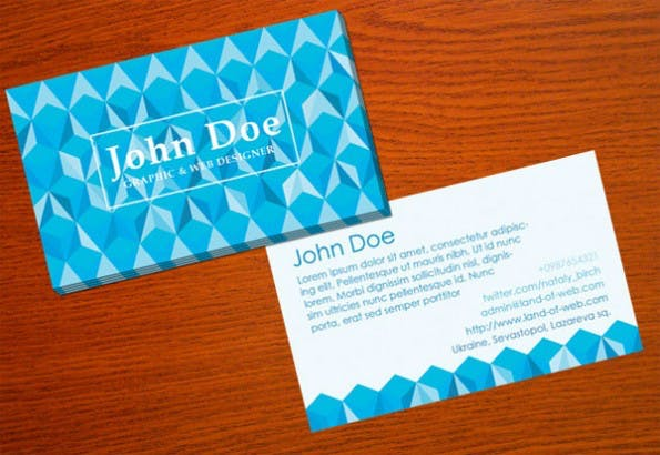Visitenkarten - Blue Polygonal Business Card Template Set PSD