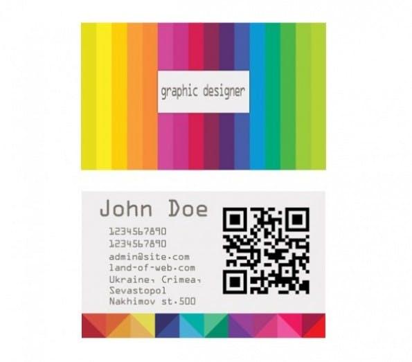 Visitenkarten - Colorful Striped Business Card Template Set PSD