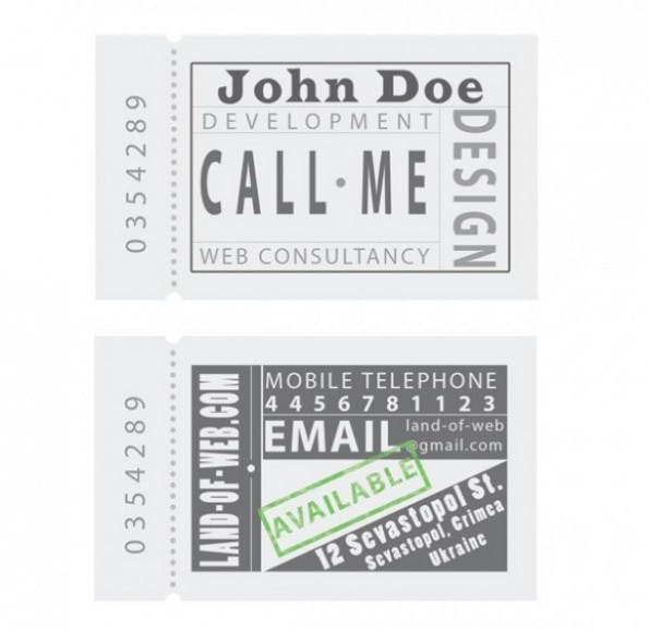 Visitenkarten - Ticket Style Business Card Template Set PSD