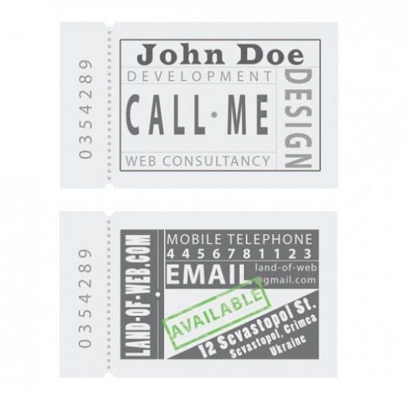 Visitenkarten - Ticket Style Business Card Template Set PSD
