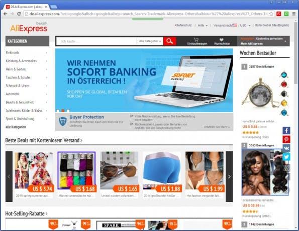 Aliexpress.com eignet sich gut für den Einsteiger in den Handel mit Fernost sowie für die Betreiber vor allem kleinerer und mittelgroßer Shops. (Screenshot: aliexpress.com)