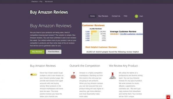 Amazon: Auf Websites wie dieser sollen Fake-Bewertungen an Händler verkauft werden. (Screenshot: buyamazonreviews.com)