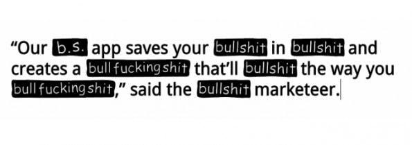 Fonts: Sans Bullshit Sans ersetzt Buzzwords durch Bullshit. (Screenshot: sansbullshitsans.com)