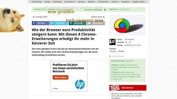 Diese Chrome-Erweiterung bringt den Doge-Meme auf jede Website. (Screenshot: t3n.de)