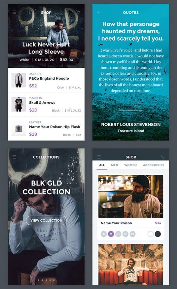 "Mobiles UI-Kit ""Ghost Ship UI Free"" (Screenshot: graphicburger.com)."