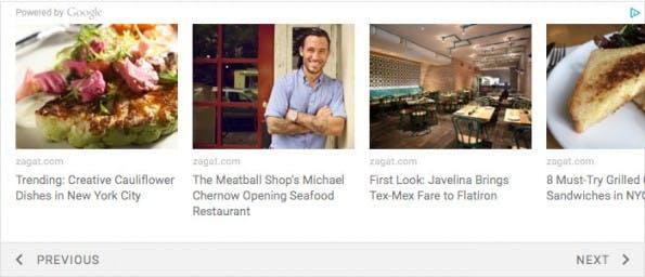 Matched Content: So sehen die Contentempfehlungen von Google auf eurer Website aus. (Screenshot: Google AdSense)