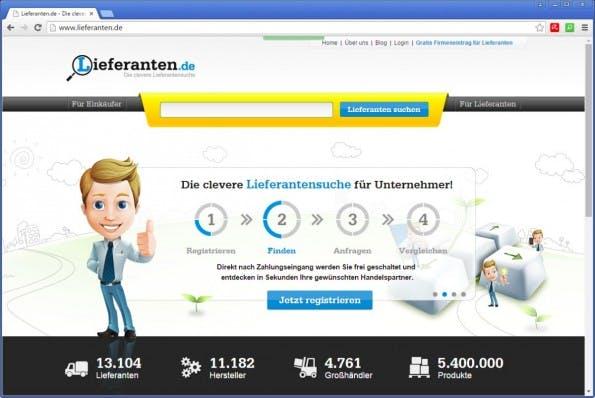Auf lieferanten.de findest du zahlreiche Großhändler mit einem umfassenden Angebot. (Screenshot: lieferanten.de)
