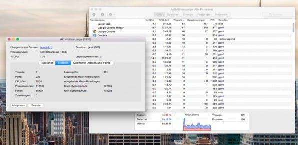 Der Activity Monitor gibt euch einen Überblick der Prozesses sowie der Systemauslastung.