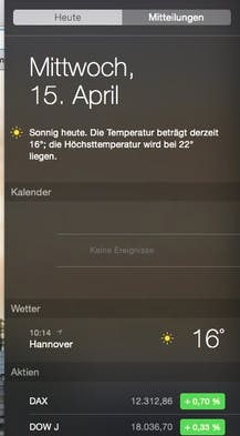 Das Notification-Center von Mac OS.