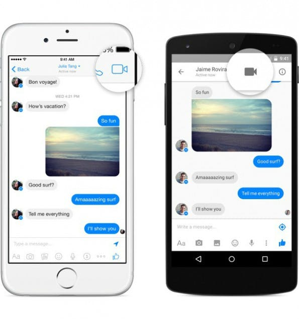 Ein Klick auf das Kamera-Symbol im Messenger startet Videoanruf. (Bild: Facebook)