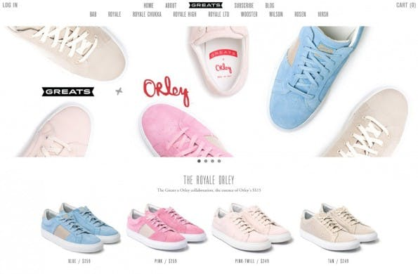 Greats Sneaker, einer der Shopify-Onlineshops. Obwohl auch große Marken wie Tesla Motors auf Shopify setzen, ist Shopify eher das Shopsystem des kleinen, spezialisierten Nischenhändlers.(Screenshot: Greatsbrands.com)
