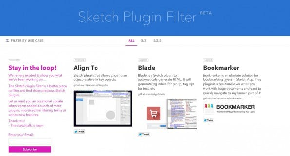 Sketch Plugin Filter hilft euch bei der Suche nach passenden Sketch-Plugins. (Screenshot: Sketch Plugin Filter)