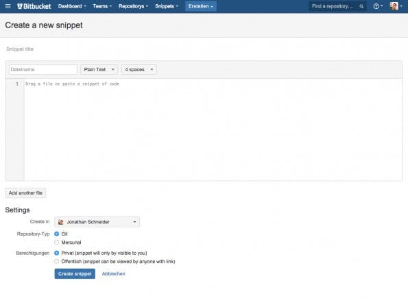 (Screenshot:  Bitbucket-Snippets)
