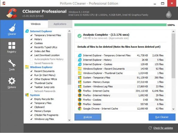 Tools wie der CCleaner helfen euch dabei, unnützen Ballast auf eurer Festplatte aufzuspüren und zu entfernen. (Screenshot: piriform.com)