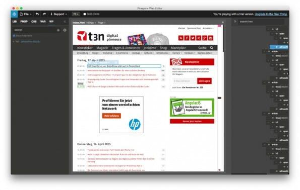 WordPress-Theme: Pinegrow hilft euch bei der Erstellung von Themes. (Screenshot: Pinegrow)