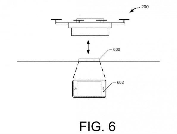 Amazon-Patent: Paket-Drohne liefert auf Smartphone-Befehl. (Grafik: Amazon/USPTO)