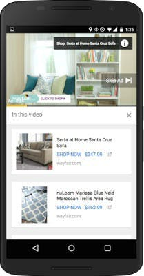 Neue Shopping-Features in YouTube-Videos – auch mobil. (Bild: Google)