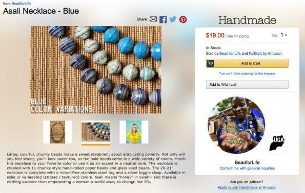 Handmade-Anbieter: Profilbild und Herkunftsland. (Screenshot: Amazon/t3n)