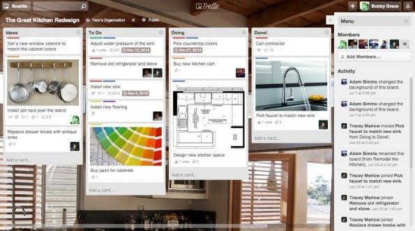 Projekte kollaborativ im Team planen, wird mit Trello möglich. So können Digitale Nomaden und Kunden sich gleichsam auf Stand halten. (Screenshot: Trello)