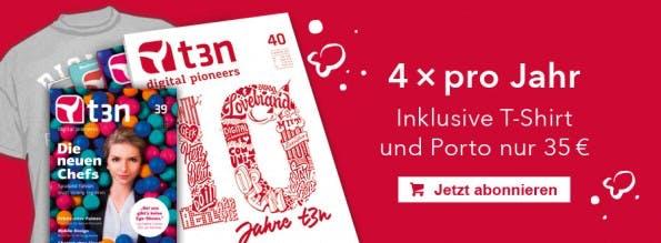 Wer bis zum 1. Juni das t3n Magazin abonniert, erhält die Ausgabe 39 sowie das aktuelle t3n-T-Shirt gratis dazu.