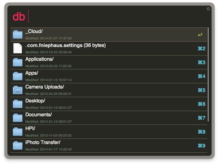 Eine Dropbox-Unterstützung für Alfred gibt es natürlich auch. Hier) geht es zum Workflow. (Screenshot: Packal)