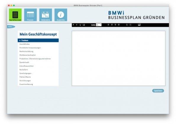 Auch das Bundesministerium für Wirtschaft und Energie bietet ein eigenes Businessplan-Tool an. (Screenshot: BMWi-Businessplan)