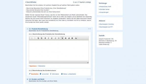 Die Gründungswerkstatt Deutschland bietet neben einem Businessplan-Tool auch Online-Tutoring an. (Screenshot: Gründungswerkstatt Deutschland)