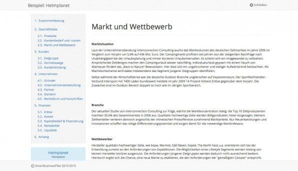SmartBusinessPlan ist ein umfangreiches Businessplan-Tool. (Screenshot: SmartBusinessPlan)