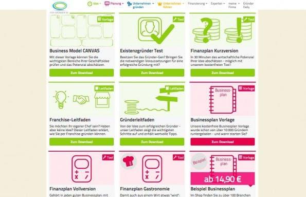 Businessplan erstellen: Auf Für-Gründer.de findet ihr kostenpflichtige Vorlagen und kostenfreie Tools. (Screenshot: fuer-gruender.de)