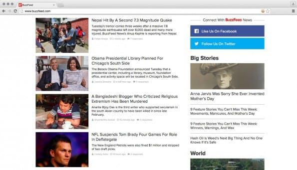 Medien wie Buzzfeed setzen hauptsächlich auf Schlagzahl. (Screenshot: Buzzfeed)