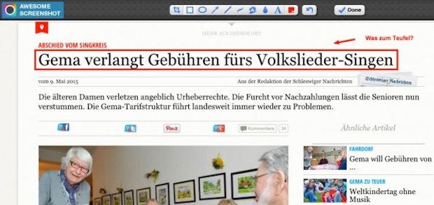 Screenshots ganz leicht im Browser bearbeiten und fertig abspeichern. (Screenshot: Awesome Screenshot)