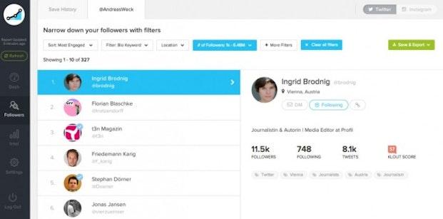 Social Rank zeigt dir deine wertvollsten Twitter-Follower auf – nach mehreren Filtern. (Screenshot: Social Rank)