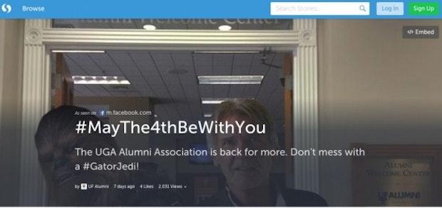 Mit Storify können Social-Media-Inhalte in einem Board gesammelt werden – #MayThe4thBeWithYou zum Beispiel. (Screenshot: Storify)