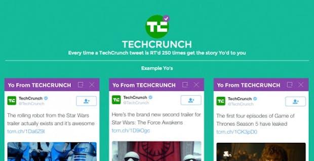 """Mit """"YO!"""" könnt ihr Social-Media-Inhalte direkt auf das Smartphone eurer Leser pushen. (Screenshot: YO)"""