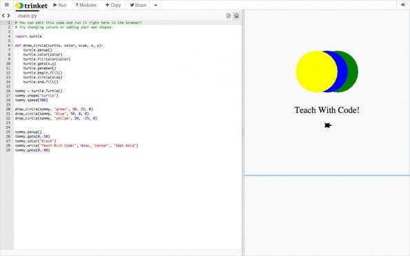 Trinket erlaubt die Erstellung und die Ausführung von Python-Code direkt im Browser. (Screenshot: Trinket)