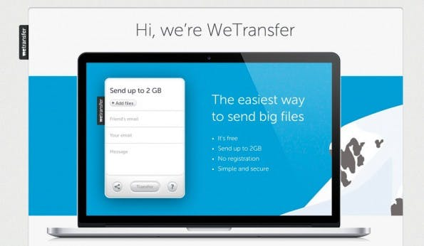 WeTransfer erlaubt das Versenden großer Dateien. (Screenshot: WeTransfer)