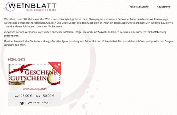 Ein Fachhandel für Weine zum Beispiel hat so einen eigenen kleinen Gutscheinshop bei gurado.de eingerichtet. (Screenshot: gurado.de)