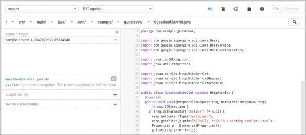 Cloud Source Repositories: Googles GitHub-Alternative integriert den Cloud-Debugger. (Screenshot: Google)