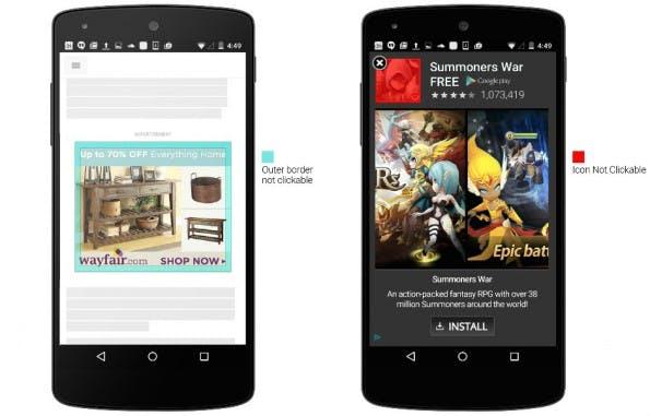 AdWords: Google ergreift Maßnahmen gegen versehentliche Klicks auf mobile Ads. (Screenshot: Google)