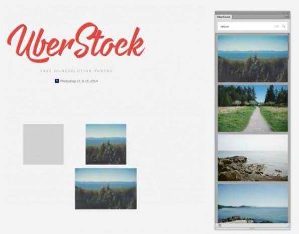 19-Dollar-Plugin Uberstock schaufelt kostenlose Stockfotos auf die Photoshop-Arbeitsfläche. (Screenshot: YouTube/Uberstock)