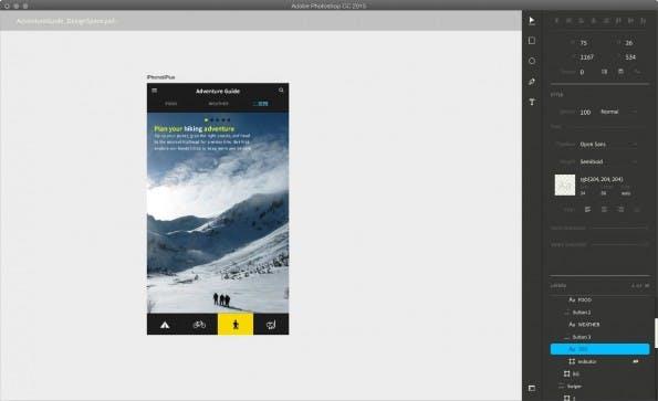 Der Design Space in Adobe Photshop CC 2015. (Screenshot: Adobe)