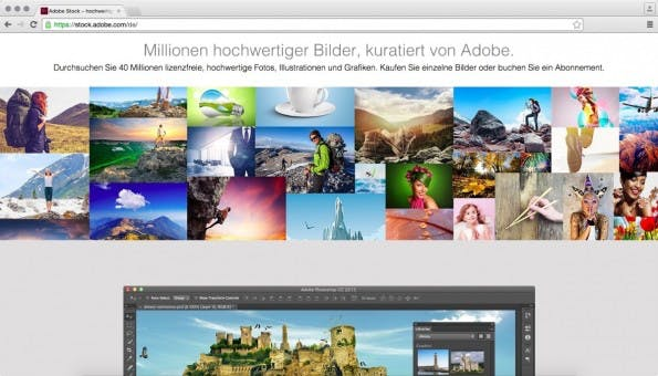 Mit Adobe Stock hat Adobe Fotolia in die Creative Cloud integriert. (Screenshot: stock.adobe.com)