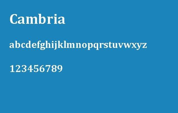 Die 6 besten Schriftarten für eine Bewerbung – Cambria.