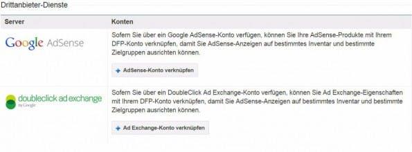 Der DFP kann mit dem eigenen AdSense Konto direkt verknüpft werden. (Screenshot: DFP)