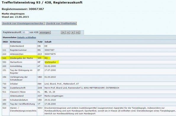 """Beim Deutschen Marken- und Patentamt können Marken eingetragen werden. Hier seht Ihr in der letzten Zeile die eingetragenen Klassen beziehungsweise Bereiche für die sich der Markeninhaber die Wortmarke """"MO"""" schützen lassen hat. (Screenshot: dpma.de)"""