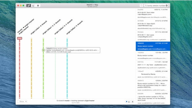 Mit GitUp bekommt ihr ein visuelles Interface für die Arbeit mit Git. (Screenshot: GitUp)