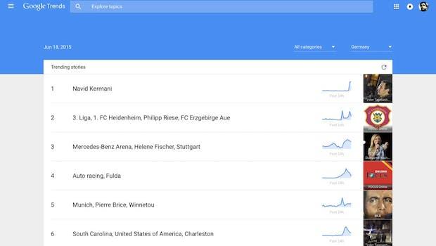 Google Trends: Aktuelle Suchentwicklungen in Echtzeit verfolgen. (Screenshot: Google Trends)