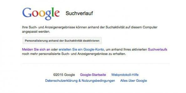 Mit ein paar Klicks können Nutzer den Google-Suchverlauf deaktivieren. (Screenshot: Google)