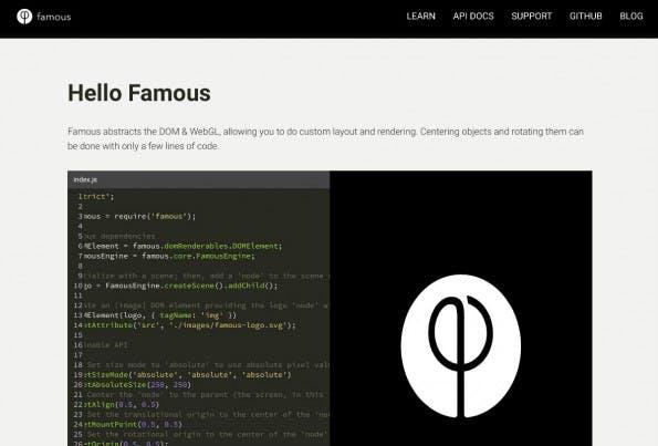 Für schwere Grafik-Applikationen: Famous. (Screenshot: Famous)