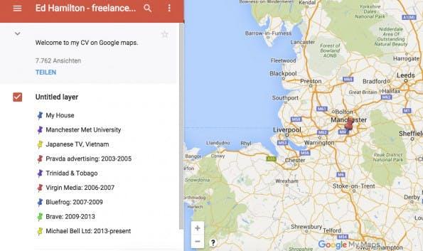 Pragmatisch und doch einfallsreich! Ed Hamilton hat all seine Stationen in einer Google-Map markiert. (Screenshot: Google Maps)